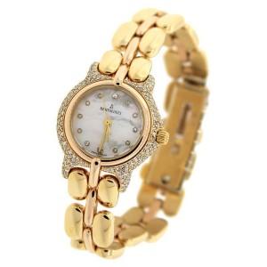 Bertolucci Pulchra 8055 18K Yellow Gold Mother Of Pearl Diamond Bezel 26mm Quartz Ladies Watch