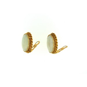 14K Yellow Gold Jade Clip Earring