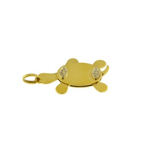 18K Yellow Gold And Diamond Movable Arms And Tail Turtle Pendant
