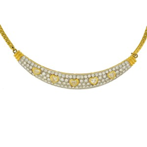 Collar Heart With Fancy Yellow and White Diamonds 18K Yellow Gold Necklace