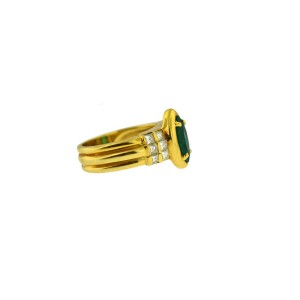 18K Yellow Gold Chunky Ring With Diamonds And Synthetic Green Emerald