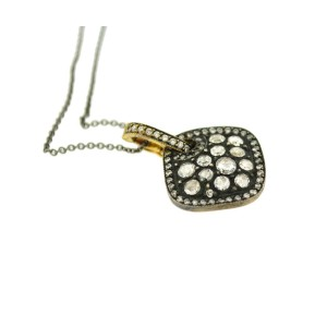 18K White Yellow and Black Gold Edgy Pendant Necklace With Diamonds Reversible