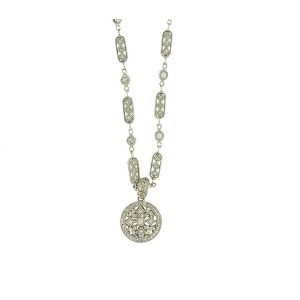 Parade Designs 18K White Gold Diamond Lace Intricate Pendant and Necklace Chain