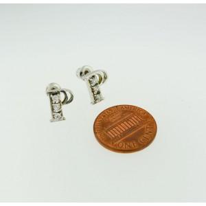 "Lettter ""P"" P Diamond Silver Studs Earrings"