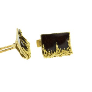 18K Yellow Gold With Gold Mahogany Brown Enamel Cufflinks