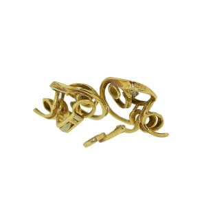 18K Yellow Gold Diamond Swirl Curl Clip On Earrings