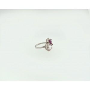 18K White Gold Kunzite And Tourmaline Ring