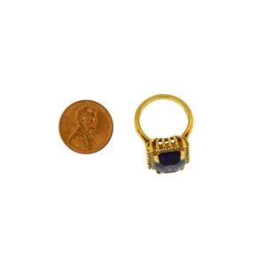 14K Yellow Gold Cushion Amethyst And Diamond Ring