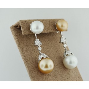 18K White Gold Two Tone Pearl And Diamond Dangle Earrings