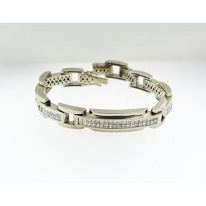 14K White Gold Chain Link Bracelet With Diamonds Biker Look Men's