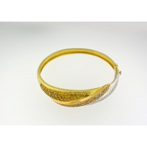 18K Two Tone Gold Tri-color Diamond Bangle