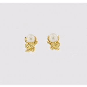 14K Yellow Gold Pearl And Diamond Earring