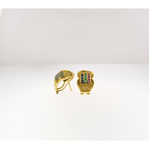 14K Yellow Gold Diamond, Sapphire And Ruby Earrings