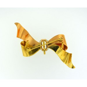 14K Rose and Yellow Gold Large 3D Bow Ribbon Pin Brooch Clip or Pendent