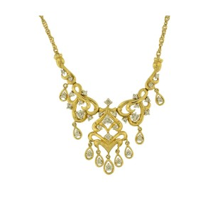 14K Yellow Gold With Diamond Necklace