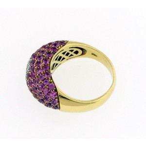 18K Gold Pink Sapphire And Diamonds Ring