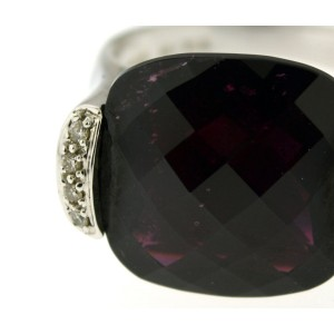 18K White Gold Garnet Checkerboard Cut With Pave Diamonds Jan Ring