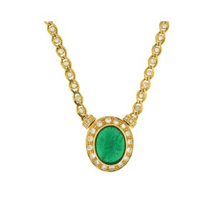 18K Yellow Gold Diamond And Emerald Pendant Necklace