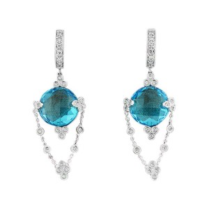 18K White Gold Diamond And Topaz Dangle Earring