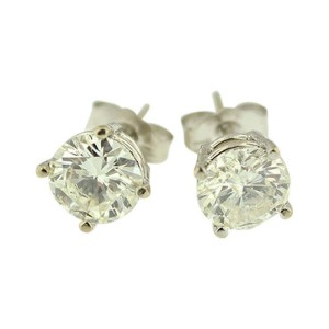 14K White Gold Round Natural 1.52 ct Diamond Stud Earrings