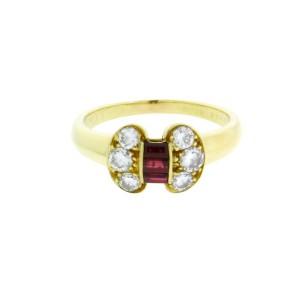 Van Cleef & Arpels 18K Yellow Gold Ruby & Diamond Ring