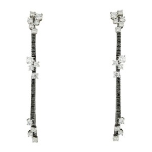 Staurino Fretelli 18K White And Black Gold With White And Black Diamonds Line Earrings