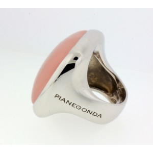 Pianegonda Sterling Silver Large Rose Quartz Ring