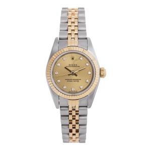 Rolex Oyster Perpetual  67193 Diamond Two-Tone Gold Jubilee Womens 24mm Watch