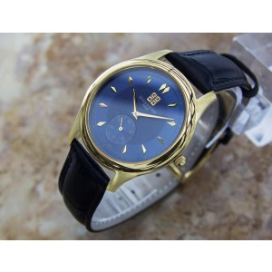 Givenchy Elitis Gold Plated Stainless Steel & Leather Swiss Made Quartz 36mm Mens Watch c2000