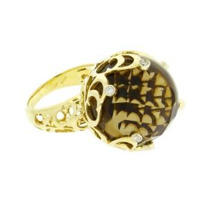 Chimento Boule Web 18k Yellow Gold Diamond & Smokey Quartz Ring Size 7