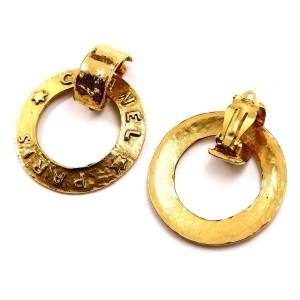 Chanel Gold Tone Metal Logo Hoop Earrings