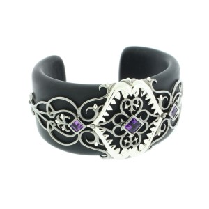 Stephen Webster 925 Sterling Silver & Black Resin Amethyst Less Dents De La Mer Cuff Bangle