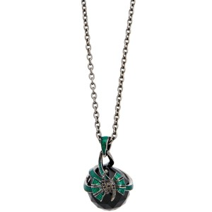 Stephen Webster 925 Sterling Silver Forget Me Knot Fashion Rock Green Enamel Bow Necklace