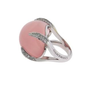 Chimento 18K White Gold Elsir Pave Diamond & Rose Quartz Ring Size 6.5