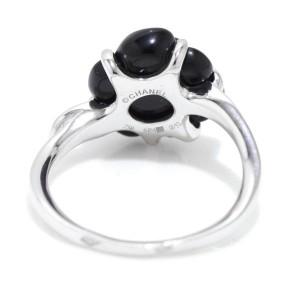 Chanel 18K White Gold Onyx Diamond Camelia Ring Size 6.25