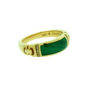 Kabana 14K Yellow Gold Diamond, Malachite Bracelet Size 8mm