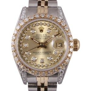 Rolex Datejust 2 Tone 18K Yellow Gold/Stainless Steel Champagne String Diamond Dial, Bezel & Lug 26mm Womens Watch