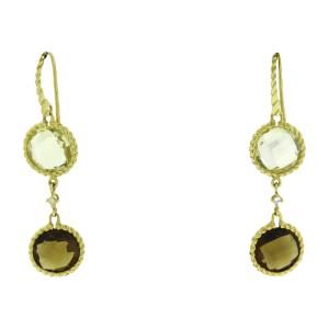 Roberto Coin 18K Yellow Gold Lemon & Smoky Quartz Diamond Earrings