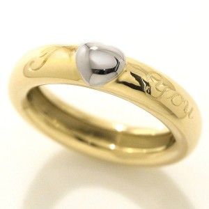 Tiffany & Co. I Love You 18K Yellow and White Gold Band Ring Size 8