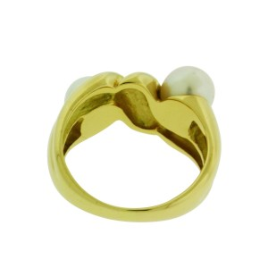 Bulgari 18K Yellow Gold Double Pearl Ring Size 6.75