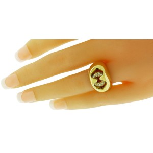 Bulgari 18K Yellow Gold & Diamond Open Heart Interlocking Ring Size 5.5