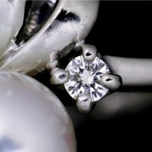 Mikimoto Platinum wirth Akoya Cultured Pearl and Diamond Ring Size 4