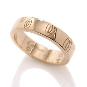Cartier Happy Birthday Logo 18K Pink Gold Ring Size 4