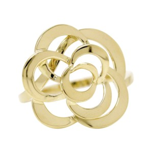 Chanel 18K Yellow Gold Camelia Ring Size 7