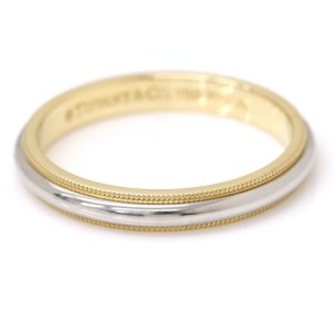 Tiffany & Co. 950 Platinum & 18K Yellow Gold Milgrain Ring Size 12