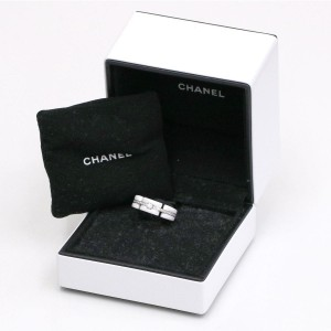 Chanel Ultra White Ceramic and 18K White Gold with Diamond Ring Size 7.5