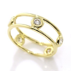 Tiffany & Co. 18K Yellow Gold & Diamond Double Wire Ring Size 4.5