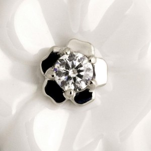 Chanel 18K White Gold and Ceramic with Diamond Camelia Ring Size 7.5
