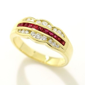 Mikimoto 18K Yellow Gold with 0.38ctw. Ruby and 0.29ctw. Diamond Ring Size 7.5