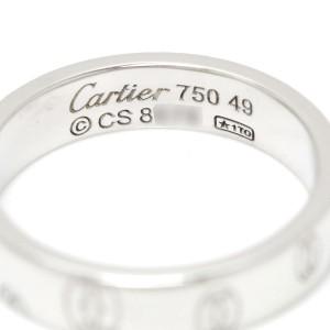 Cartier Happy Birthday Logo 18K White Gold Ring Size 4.75